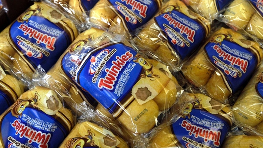 Nov. 16, 2012: Twinkies baked goods are displayed for sale at the Hostess Brands' bakery in Denver, Colo.
