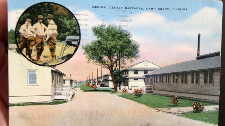This undated photo, shows a postcard delivered to an address in Elmira N.Y., during the week of  Nov. 12. 2012.The postcard was originally sent nearly seven decades ago.