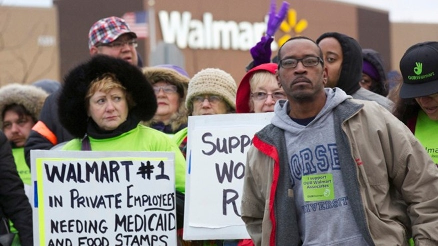 Nov. 23: Protesters demonstrate outside a Walmart store in Chicago.