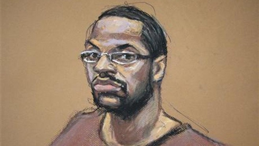 Aug. 30, 2012: courtroom sketch, Ronell Wilson appears before a judge in federal court in the Brooklyn borough of New York.