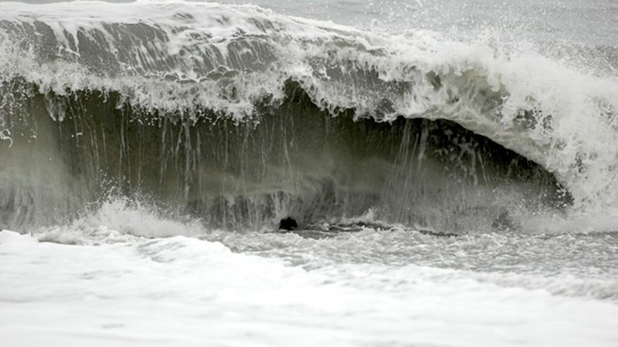 Nov. 26: The surf at Big Lagoon beach creates a moderate undertow near Trinidad, Calif.