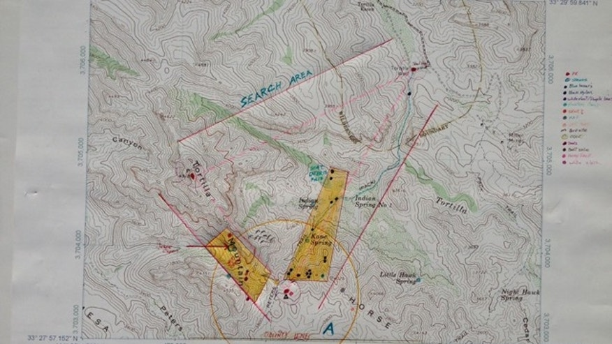 "This map shows the area in the southern portion of Arizona's Superstition Mountains where a body believed to be Capen's was found Saturday in a ""tight spot"" roughly 35 feet off the ground. (Courtesy: Robert Cooper)"