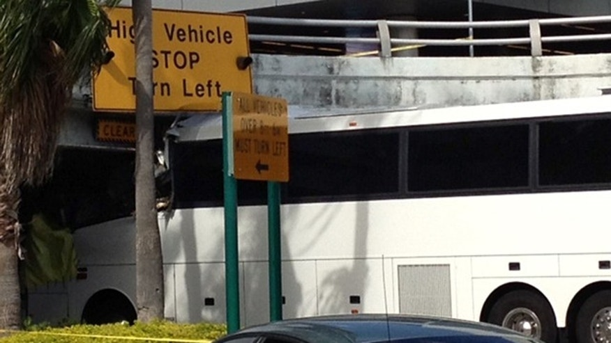 Dec. 1: A bus is lodged into an overpass at the Miami International Airport.