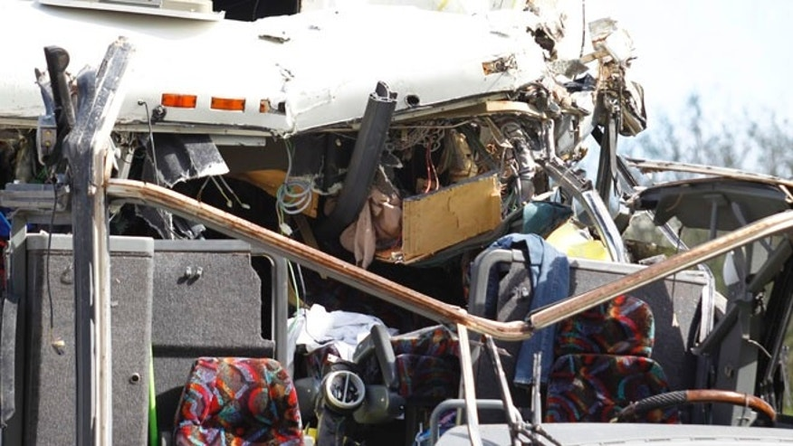 Dec. 1: The front section of a bus that hit a concrete overpass at Miami International Airport is shown in Miami.