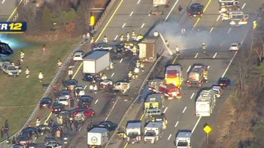 Dec. 19, 2012: This image taken from video on the News 12 Long Island website shows an aerial view of a multi-vehicle accident on the Long Island Expressway, in Shirley, N.Y.