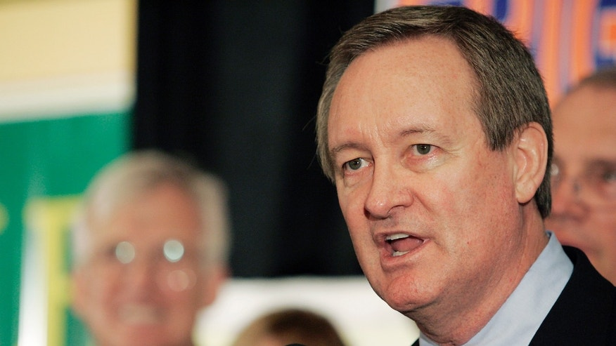 FILE - In this Nov. 2, 2010 file photo, U.S. Sen. Mike Crapo, R-Idaho, gives his victory speech at the Republican Party election headquarters held at the Doubletree Riverside Hotel in Boise, Idaho. Authorities say Crapo has been arrested and charged with driving under the influence Sunday, Dec. 23, 2012 in a Washington, D.C. suburb. (AP Photo/Matt Cilley, File)