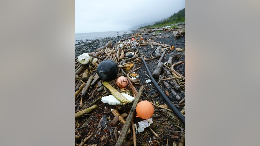 FILE-In this July 2012 file photo provided by the National Oceanic and Atmospheric Administration (NOAA), buoys, foam and other debris are strewn about a beach on Kayak Island, Alaska. The West Coast is anticipating more debris from the 2011 Japanese tsunami to wash ashore this winter. Scientists expect the bulk of the tsunami debris to end up in the Pacific Northwest.  (AP Photo/NOAA, Jacek Maselko,File)