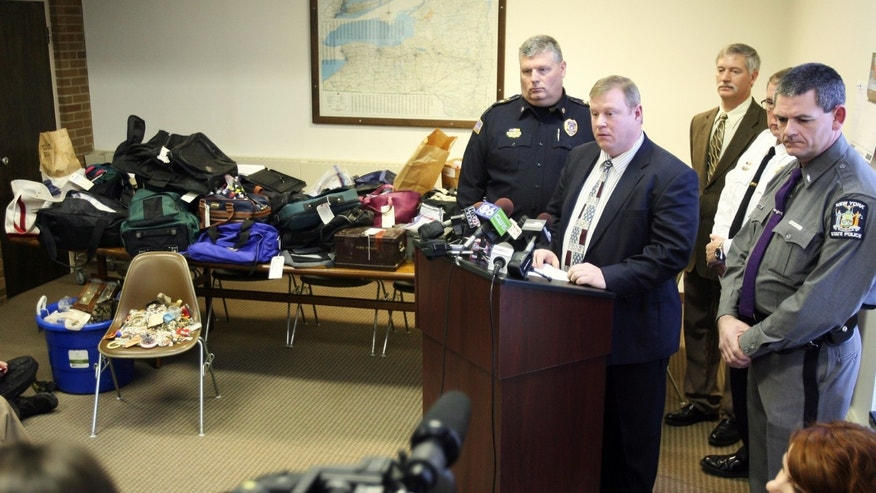 Jan. 2, 2013 : Hudson Falls Police Detective Scott Gillis talks to the media about evidence seized from a years-long burglary spree during a news conference.