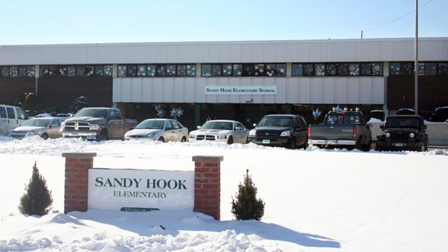 Jan. 3, 2013: This photo provided by the Monroe Police Department shows the new Sandy Hook Elementary School on the first day of classes in Monroe, Conn.