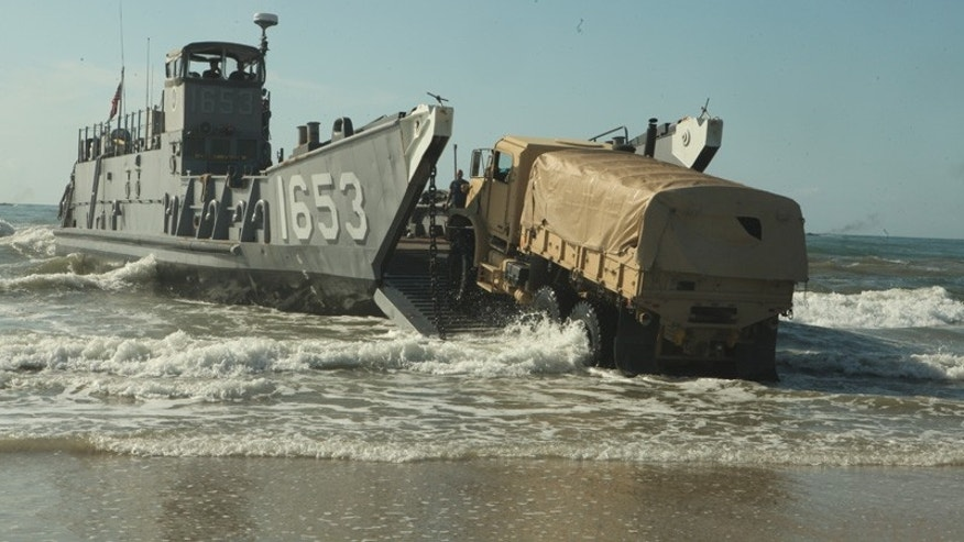 May 9, 2012: Naval forces practice a landing exercise as they prepare for deployment to Africa.