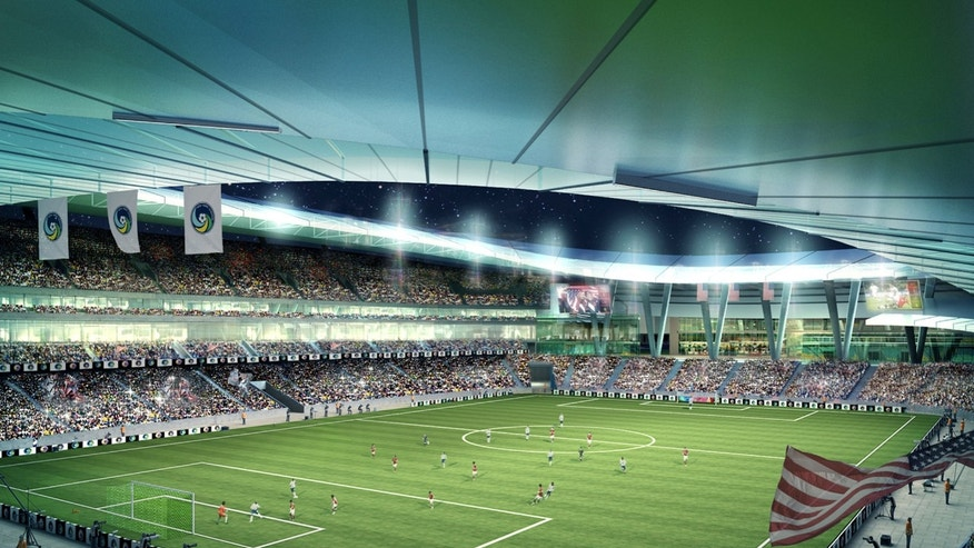 This artist's rendering of a proposed Cosmos Stadium was provided by the New York Cosmos, Wednesday, Jan. 16, 2013 in New York. The New York Cosmos are planning a 25,000-seat soccer stadium at Long Island's Belmont Park racetrack. The $400 million privately funded project requires the approval of New York's Empire State Development Corporation.  (AP Photo/New York Cosmos)