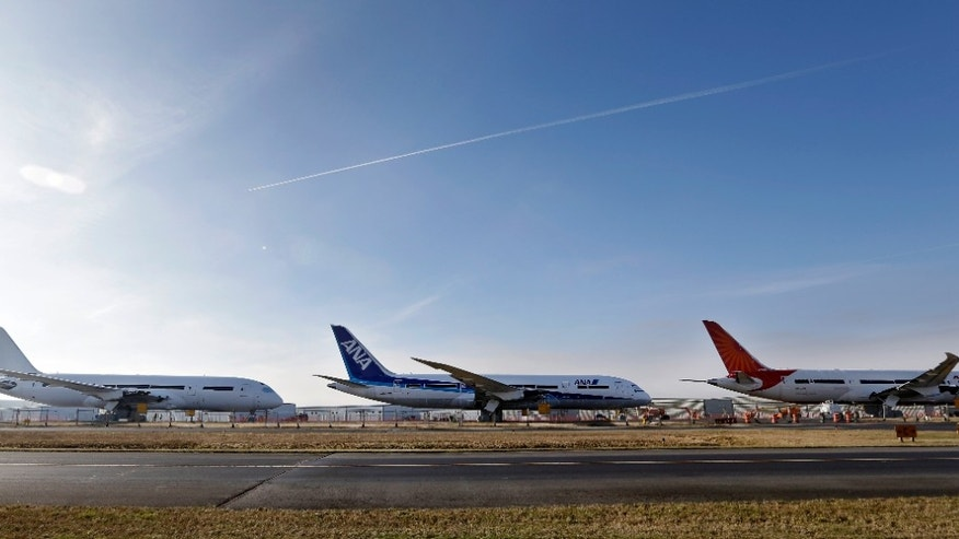 Jan. 17, 2013: A line of 787 jets are parked nose-to-tail at Paine Field in Everett, Wash.