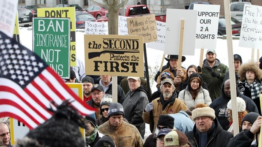 Jan. 19, 2013: Hundreds of gun supporters rally at the Statehouse, in Concord, N.H.  Rallies are being held by gun rights advocates four days after President Barack Obama unveiled a sweeping plan to curb gun violence.
