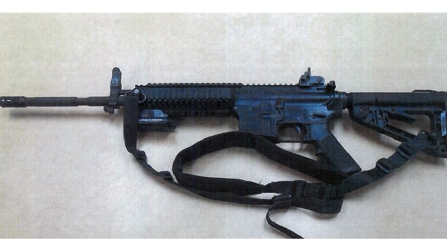 This image provided by the Fontana Unified School District Police shows a Colt LE6940 semiautomatic rifle, one of 14 purchased by the Fontana Unified School District to help provide security for the school, in California.