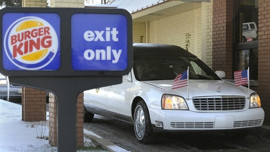 Jan. 26, 2013.: The hearse carrying David Kime, Jr. pulls up to the drive-through at the Burger King in York, Pa.