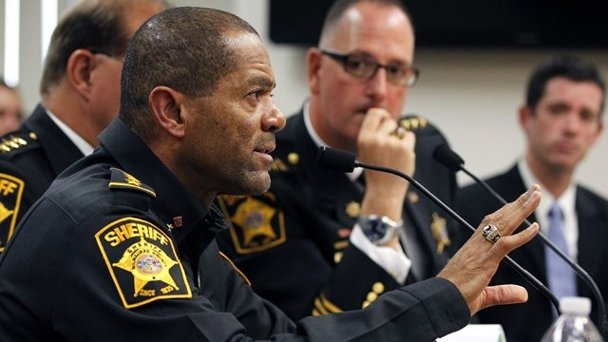 Oct. 11, 2012: Milwaukee County Sheriff David Clarke talks during a budget hearing in Milwaukee, Wis.
