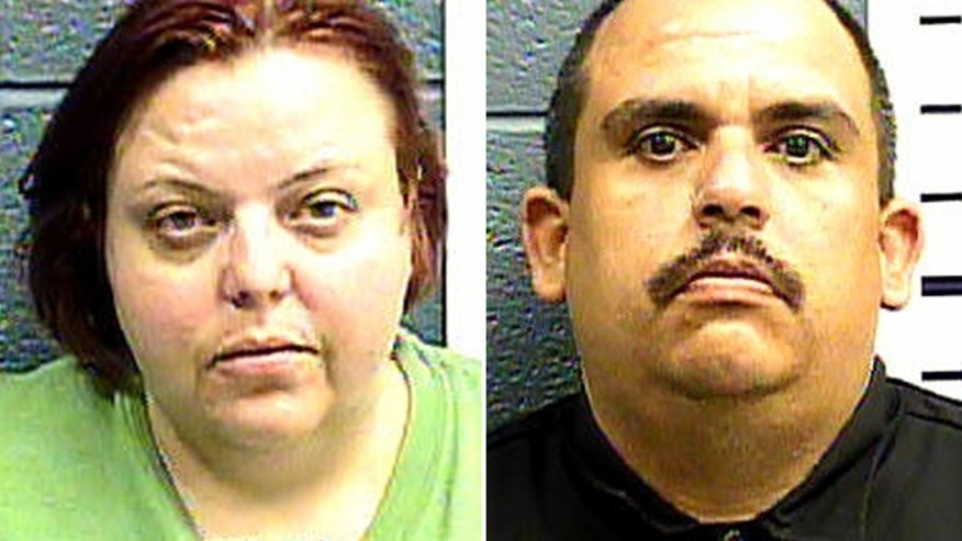 Cindy Patriarchias, left, and Edmond Gonzalez, right, are accused of locking an 8-year-old girl in a wooden cage, then leaving her alone while they went to watch a movie.