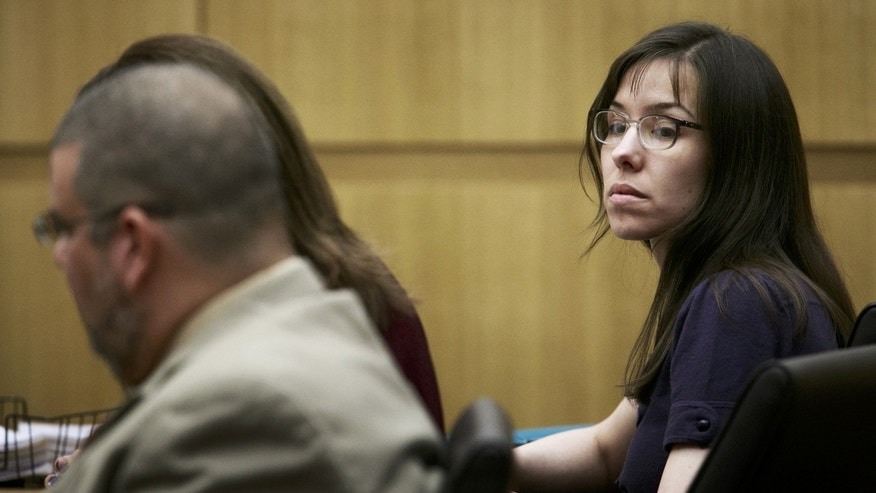 Defendant Jodi Arias appears in court for her murder trial at the Maricopa County Superior Court on Monday, Jan. 28, 2013, in Phoenix. Arias is charged with murder in the death of her boyfriend, Travis Alexander, and prosecution is seeking the death penalty.(AP Photo/The Arizona Republic, Charlie Leight)