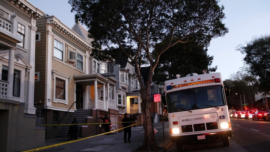 San Francisco Police park a mobile command vehicle in front of a home on the 1100 block of Masonic Avenue Tuesday Jan. 29, 2013 in San Francisco, reportedly looking for evidence in the disappearance of 10-year-old Kevin Collins 29 years ago. A law enforcement official tells The Associated Press that investigators were digging in the backyard and the basement of the home near the city's Haight-Ashbury district Tuesday. (AP Photo/San Jose Mercury News, Karl Mondon) MAGS OUT; NO SALES; NO INTERNET USE