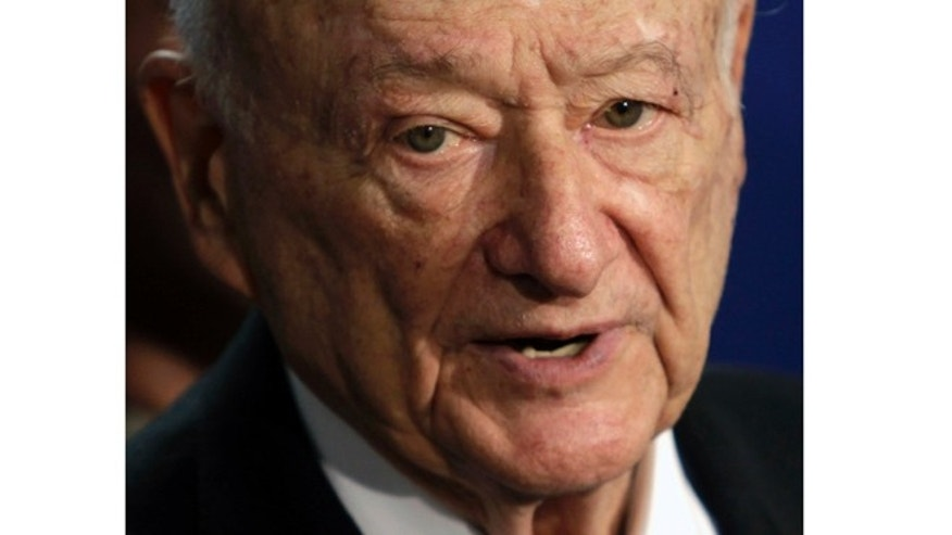 FILE - In this March 1, 2011 file photo, former New York Mayor Ed Koch speaks during a news conference in Albany, N.Y.