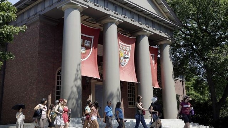 Aug. 30, 2012: People are led on a tour group at the campus of Harvard University in Cambridge, Mass.