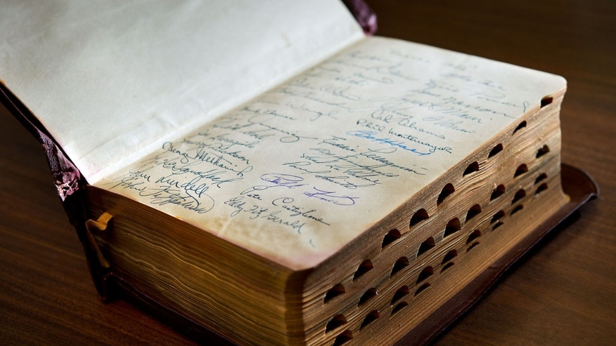 The Bible was signed by members of the 1953 Pirates. (Randall Benton/MCT/ZUMAPRESS.com)