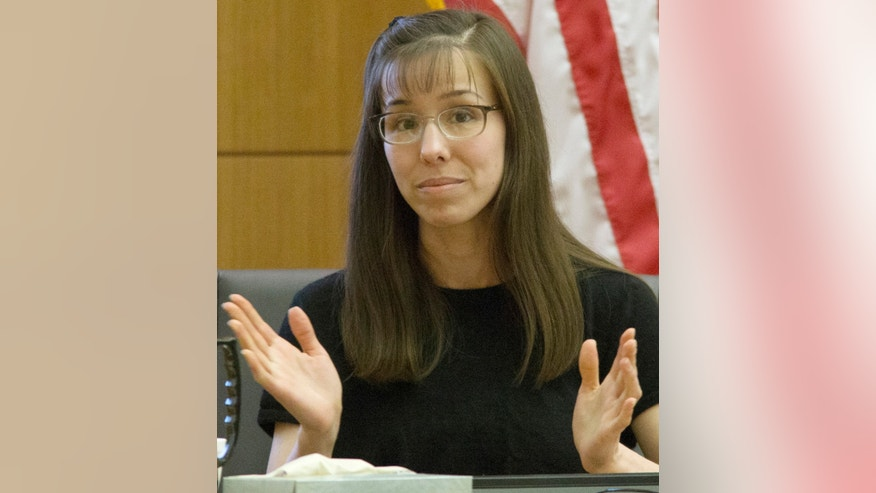Defendant Jodi Arias testifies in her murder trial in Superior Court, on Monday, Feb 4, 2013 in Phoenix.  Arias stands trial accused of murdering her lover, Travis Alexander, in his Mesa, Ariz., home in 2008.     (AP Photo/The Arizona Republic, Mark Henle)  MARICOPA COUNTY OUT; MAGS OUT; NO SALES