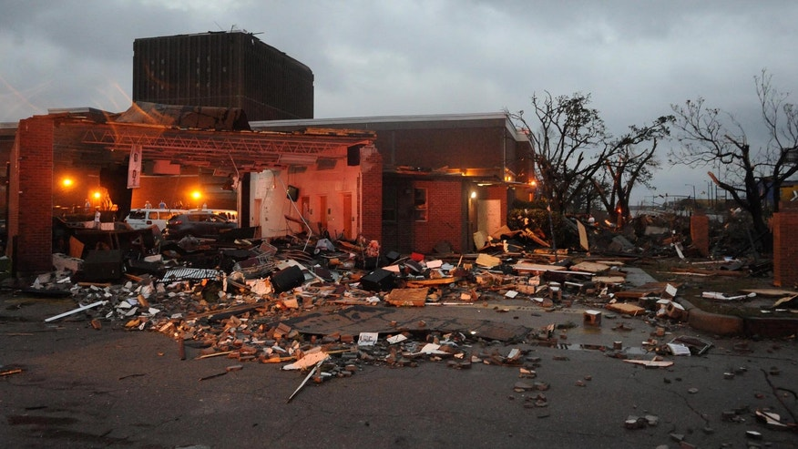 Extensive damage at the University of Southern Mississippi on Hardy Street in Hattiesburg Miss., Feb 10, 2013 after a tornado passed through the city Sunday afternoon. (AP Photo/Hattiesburg American, Ryan Moore)
