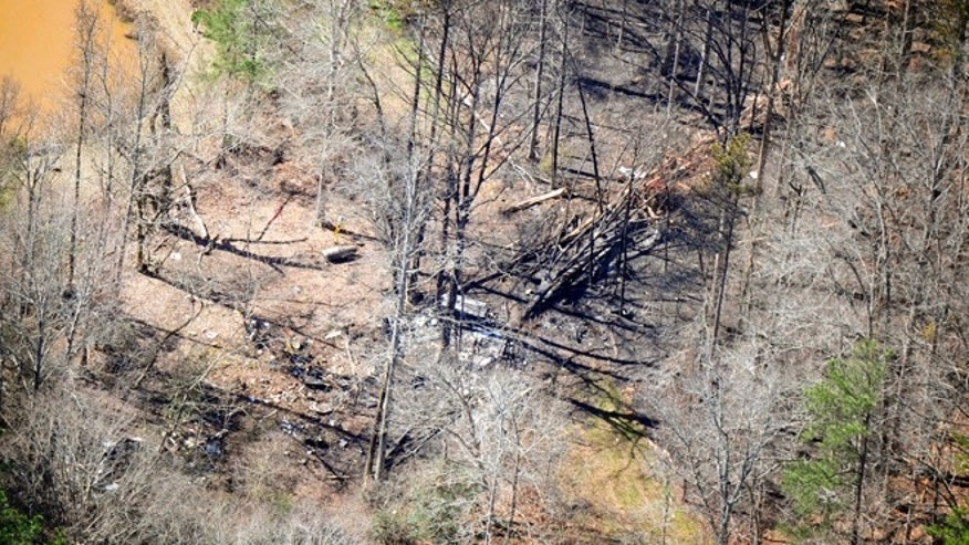 Feb. 21, 2013: This aerial photograph shows the site of a private jet crash east of the Thomson-McDuffie County Airport in Thomson, Ga.