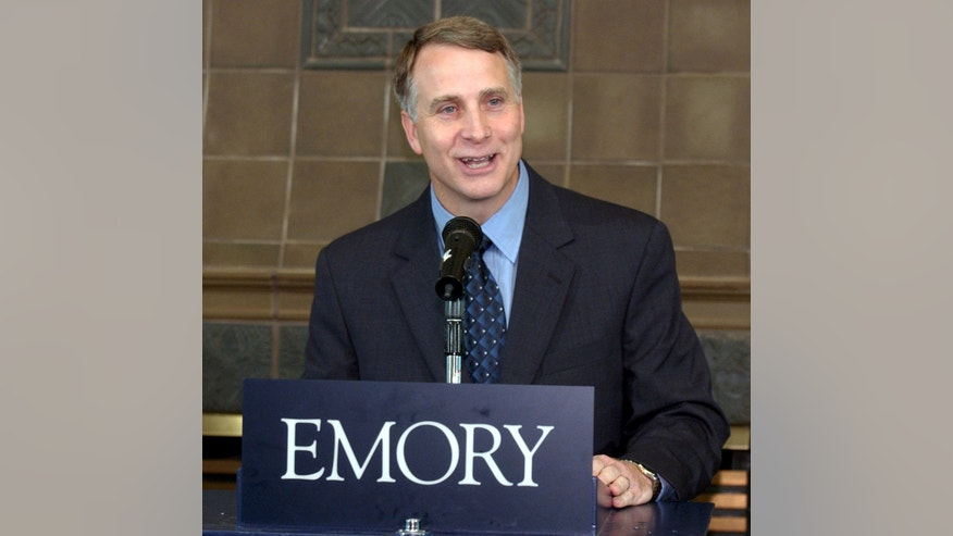 FILE - In this July 30, 2003 file photo, Emory University president James W. Wagner speaks during a press conference at the Emory Conference Center Hotel in Atlanta, Ga. Wagner has come under criticism for using the three-fifths compromise on slavery from U.S. history for his essay about the value of finding common ground in politics and on campus, published in the Winter 2013 issue of Emory Magazine. (AP Photo/Barry Williams, File)