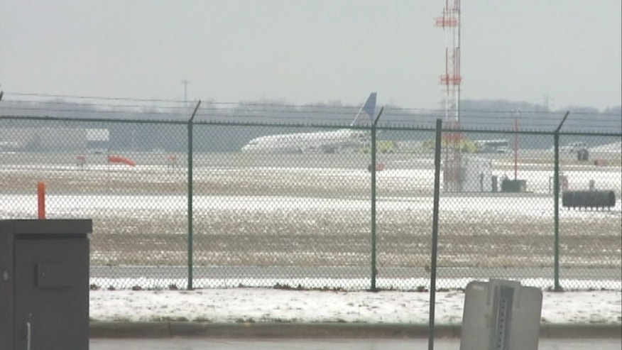 Feb. 22, 2013: A plane skids off the runway at Hopkins International Airport in Ohio.