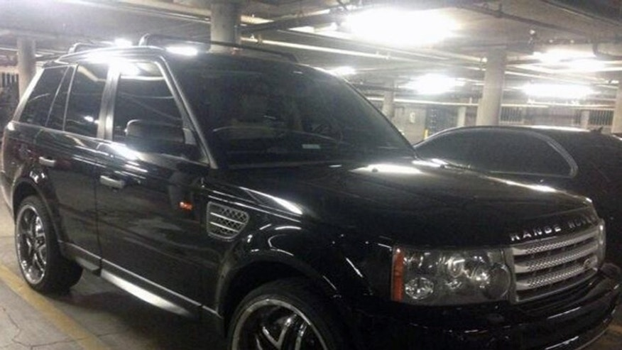 Feb. 23, 2013: This photo provided by the Las Vegas Metropolitan Police Department shows a black Range Rover SUV in Las Vegas that was found at an apartment complex east of the Las Vegas Strip.