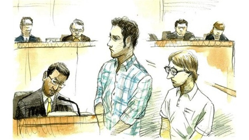 March 1, 2013: In this courtroom sketch, U.S. Navy Seaman Christopher Browning, of Athens, Texas, right, and Petty Officer 3rd Class Skyler Dozierwalker, of Muskogee, Oklahoma, attend a session at the Naha District Court in Naha, Okinawa Prefecture (State), Japan.