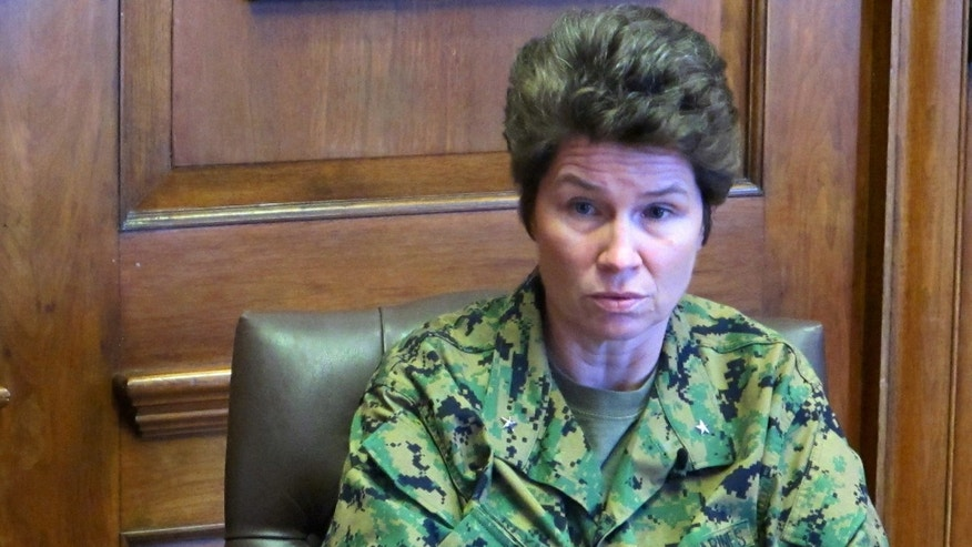 Feb. 21, 2013: In this photo, Marine Brig. Gen. Loretta Reynolds answers a question during an interview at the Marine Corps Training Depot on Parris Island, S.C.