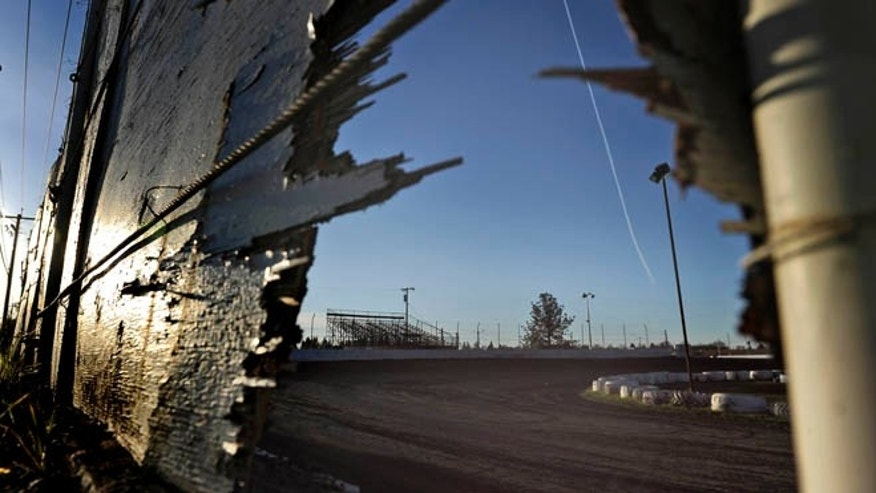 March 17, 2013: This photo shows the racetrack where a sprint car accident killed two people Saturday at the Marysville Raceway Park in Marysville, Calif. A teenage race car driver taking warm-up laps careened off the track and into pit row, killing a 14-year-old boy and 68-year-old man, officials said.