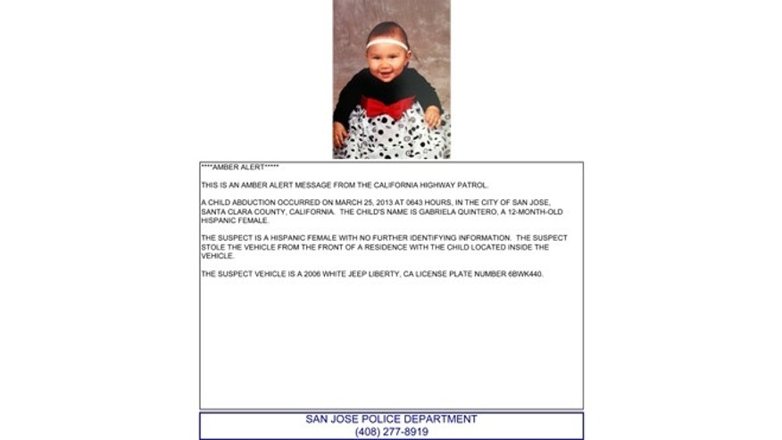This Amber Alert press release shows 1-year-old Gabriela Quintero who was inside an SUV when it was stolen.