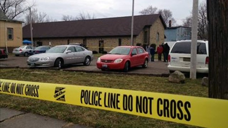 Mar. 31, 2013: This image provided by WKYC, Channel 3, shows the scene outside a church in Ashtabula, Ohio.