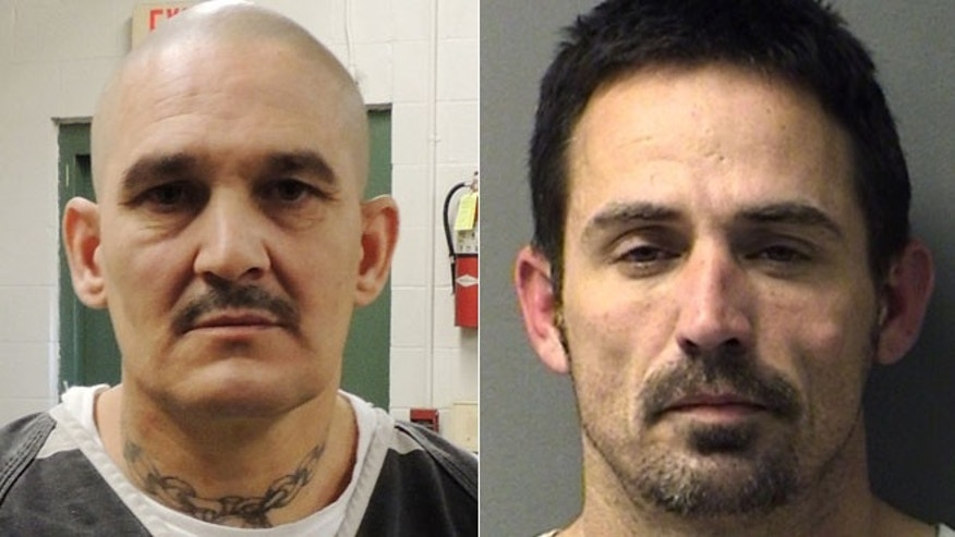 Brian Allen Tucker, left,  an inmate awaiting trial on a capital murder charge, and another prisoner, John Marlin King, right broke out of the Hopkins County Jail.