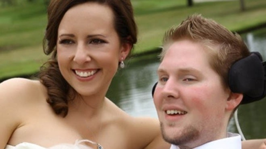 U.S. Army soldier Ian Ralston and Nicole Sanders will celebrate their one-year wedding anniversary in June. Ralston was wounded by an improvised explosive device in Iraq, leaving him a quadriplegic.