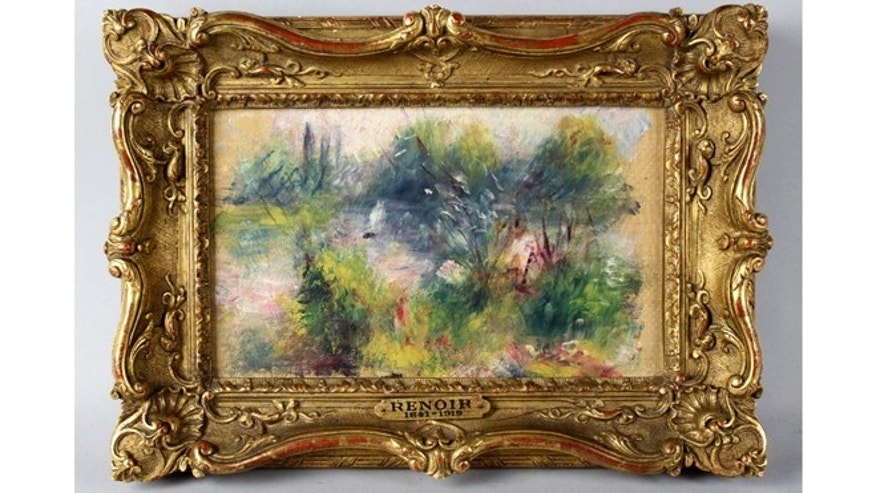 This image released by Potomack Company shows an apparently original painting by French impressionist Pierre-Auguste Renoir that was acquired by a woman from Virginia who stopped at a flea market in West Virginia and paid $7 for a box of trinkets that included the painting.