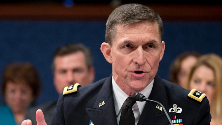 Department of Defense's Defense Intelligence Agency Director,  Lt. Gen. Michael Flynn testifies  on Capitol Hill in Washington, Thursday, April 11, 2013, before the House Intelligence Committee hearing on worldwide threats.   (AP Photo/Manuel Balce Ceneta)
