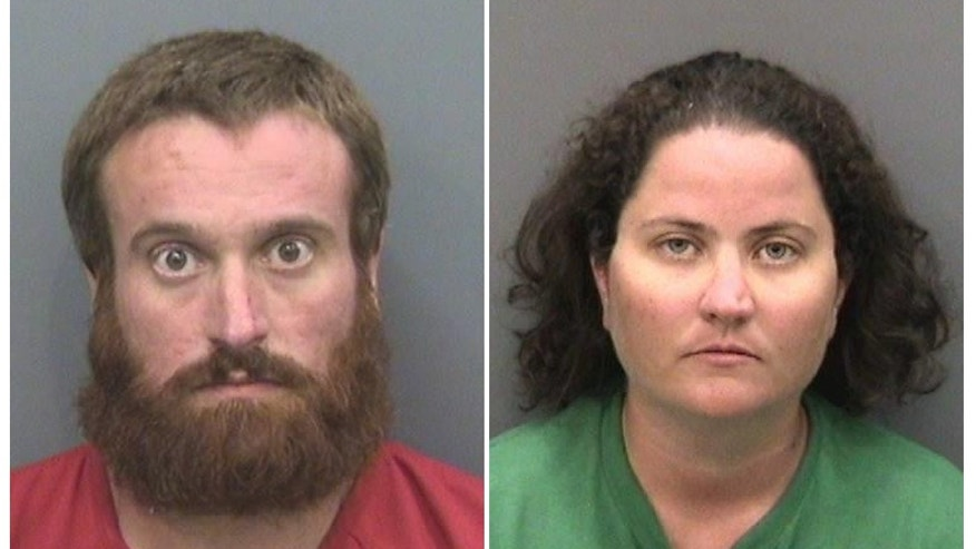 These photos provided by Hillsborough County Sheriff's Office show Joshua Michael Hakken, left, and Sharyn Hakken. The couple are being held at the Hillsborough County Jail on a number of charges including kidnapping, child neglect and interference with custody, authorities said. (AP/Hillsborough County Sheriff's Office)