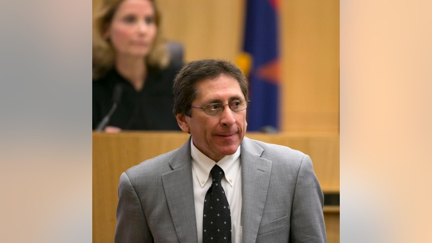 Prosecutor Juan Martinez looks on during redirect of Alyce LaViolette,  a domestic violence expert during the Jodi Arias trial at Maricopa County Superior Court in Phoenix on Thursday, April 11, 2013.  Arias is on trial for the killing of her boyfriend, Travis Alexander, in 2008.  Arias faces a possible death sentence if convicted of first-degree murder.  (AP Photo/The Arizona Republic, David Wallace, Pool)