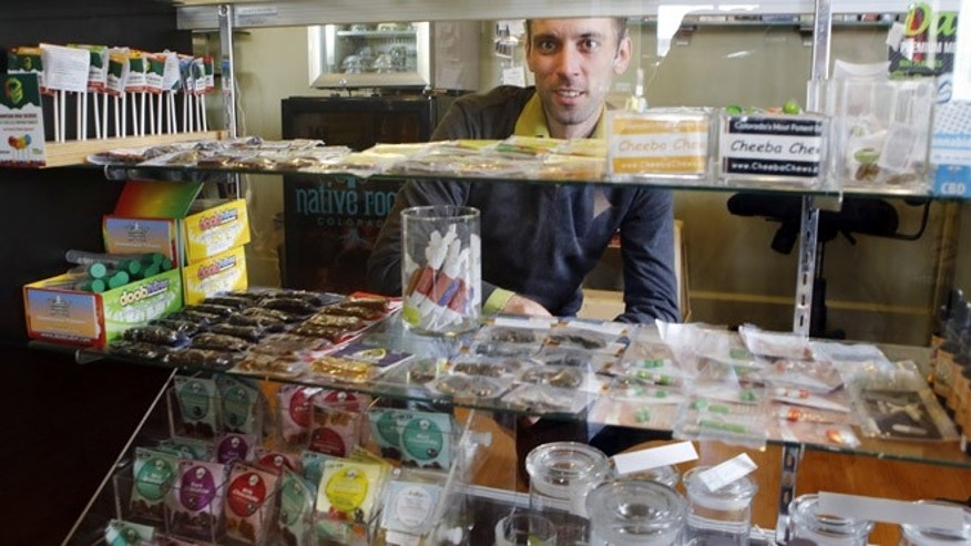 "April 11, 2013: This photo shows Matt Brown, co-owner of Denver's new ""My 420 Tours,"" looking over a sampling of marijuana edibles  at a dispensary in Denver. ""My 420 Tours""  gives traveling pot users everything but the drug. Brown has sold 160 tour packages to visiting pot smokers for the April 20 weekend. Prices start at $499, not including hotel or air. Instead, the service plans to pick up marijuana tourists at the airport in limousines, escort them to Cannabis Cup and other Denver-area marijuana celebrations and take them to a cannabis-friendly hotel (a national chain that has given permission for Denver patrons to smoke marijuana on outdoor patios but doesn't want its name advertised)."