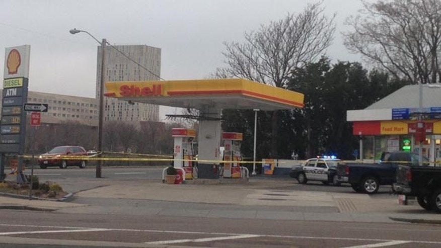 April 19, 2013: The gas station where the Boston Marathon bombing suspects reportedly pushed carjacking victim out of their vehicles.