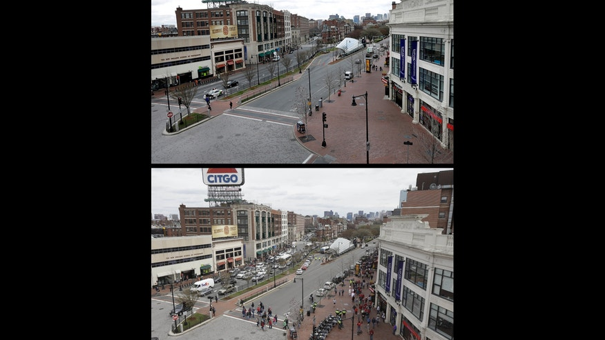 "This photo combo shows an empty Kenmore Square, Friday, April 19, 2013, in Boston, top, at lunchtime during a call for ""shelter-in-place"" for Boston and some area communities as authorities searched for the second suspect in the Boston Marathon bombings. At bottom, pedestrians cross an intersection at Kenmore Square, Saturday, April 20, 2013, in Boston, a day after police captured Dzhokhar Tsarnaev, 19, the surviving bombing suspect. (AP Photo/Elise Amendola, Julio Cortez)"