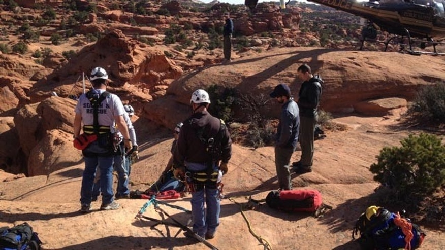 April 21, 2013: A group of scouts was rescued from a slot canyon on Sunday.