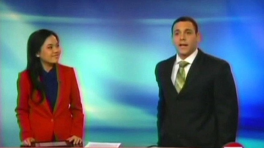 A.J. Clemente, right, made his debut as co-anchor for Bismarck NBC affiliate KFYR on Sunday, but the West Virginia University graduate was seemingly unaware his microphone was on as colleague Van Tieu began the newscast. He was later fired. (FNC)