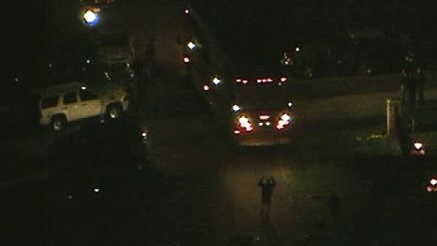 April 22, 2013: Police surround a home in Maryland where a suspect is reportedly barricaded after shooting an off-duty police officer.