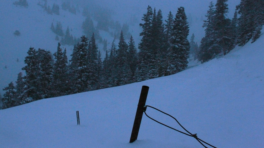 April 20, 2013: Snow falls near the spot where five members of a backcountry snowboarder group were found dead after they were trapped by an avalanche on Loveland Pass, Colo.
